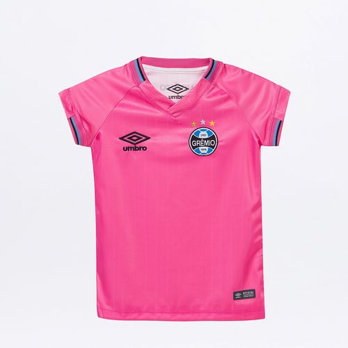 Camisa Infantil Umbro Gremio Fem. Comemorativa Outubro Rosa 2018